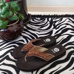 """Just in! Gold Flip Flop """"Mahalia"""" Leather Beaded"""